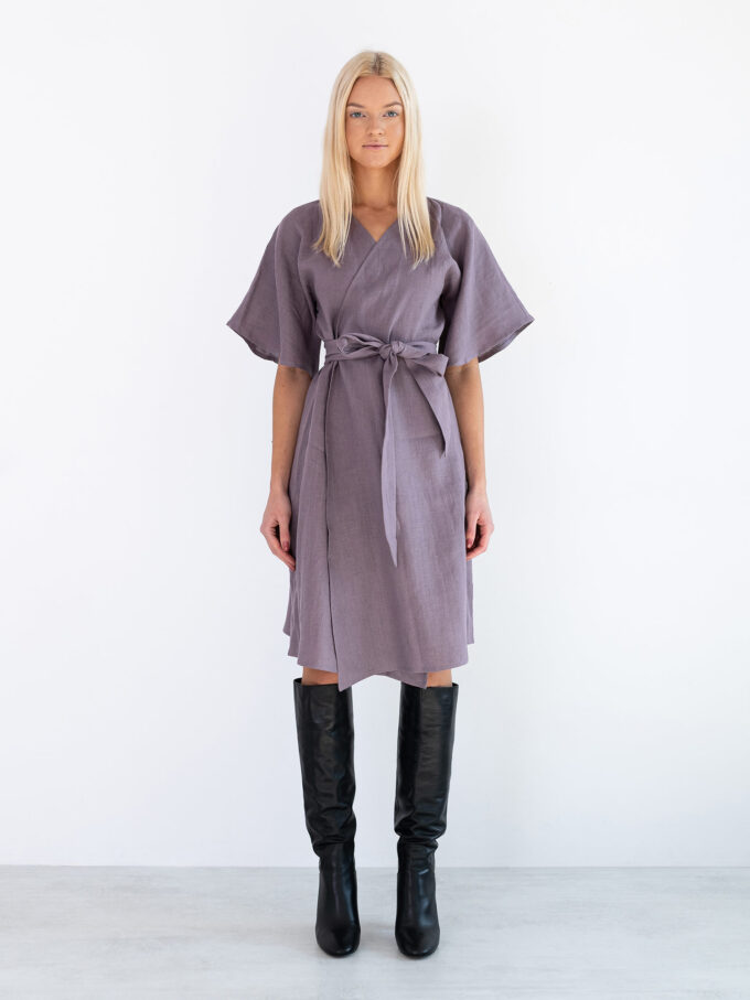 Image 3 of MARY Linen Wrap Dress in Lavender Violet from Love and Confuse