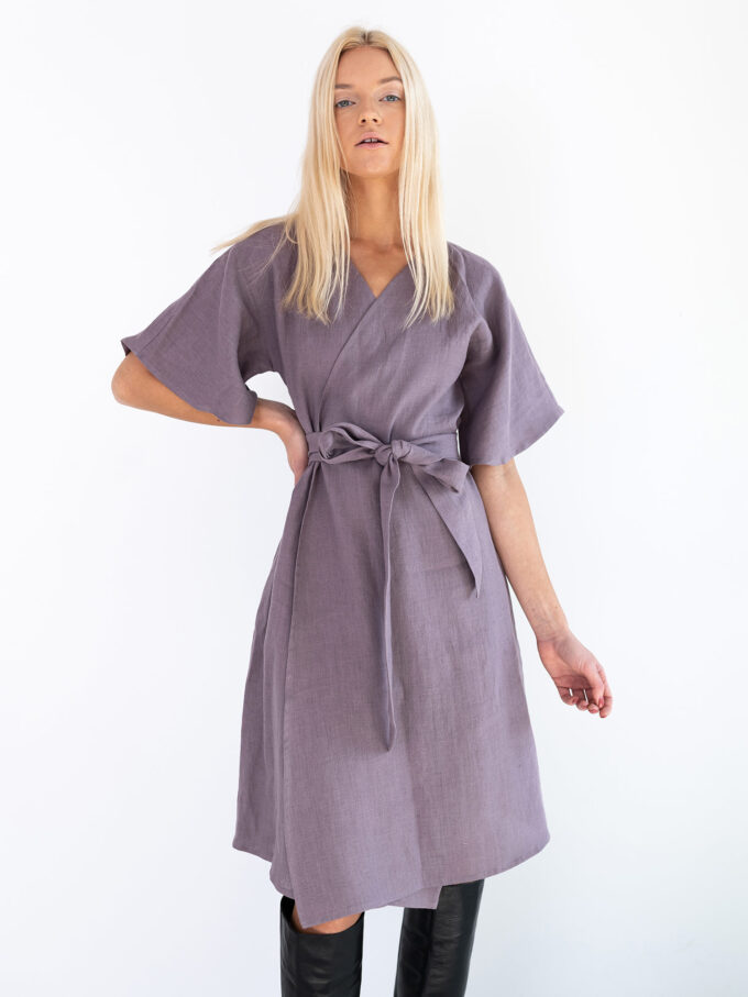 Image 4 of MARY Linen Wrap Dress in Lavender Violet from Love and Confuse