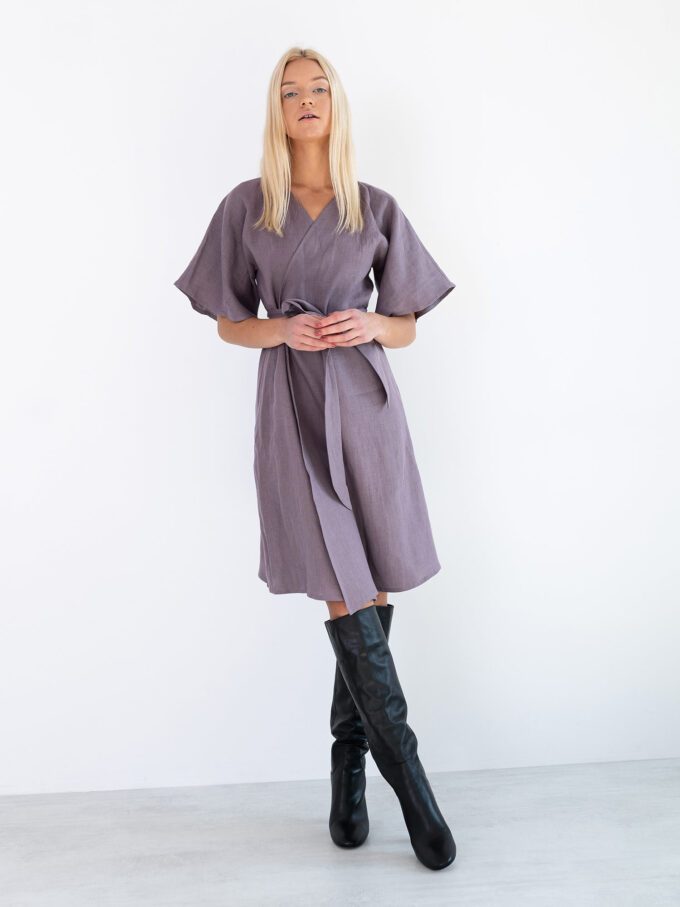 Image 5 of MARY Linen Wrap Dress in Lavender Violet from Love and Confuse