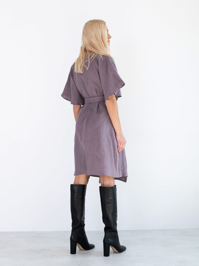 Image 6 of MARY Linen Wrap Dress in Lavender Violet from Love and Confuse
