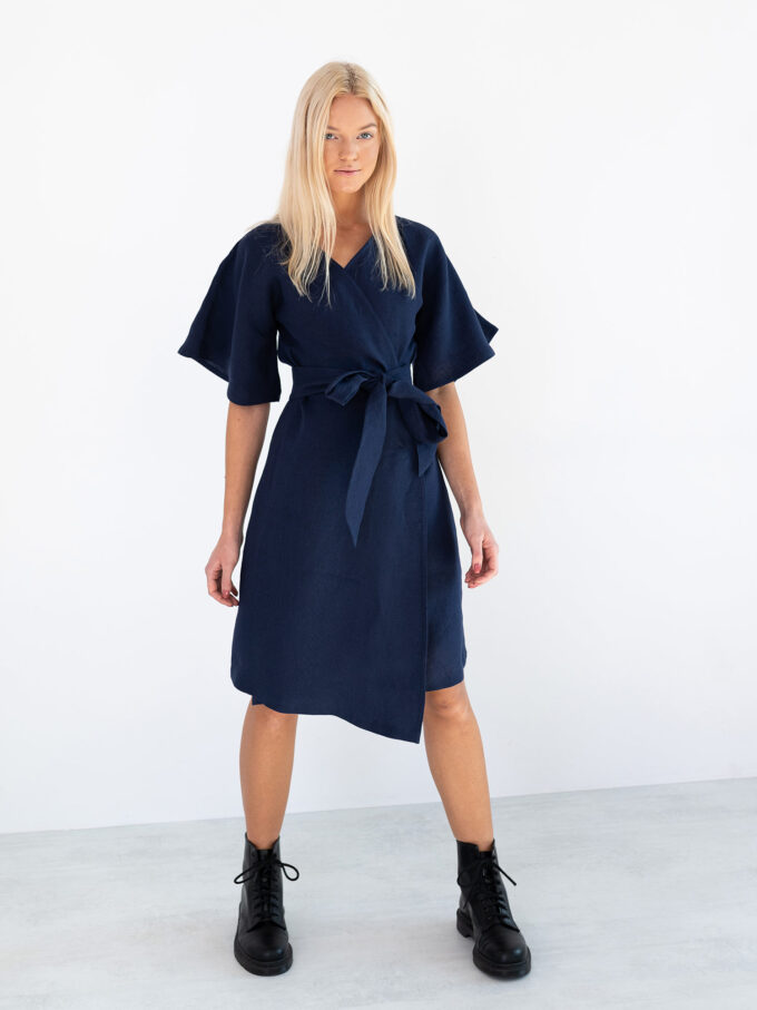 Image 4 of MARY Linen Wrap Dress in Navy Blue from Love and Confuse