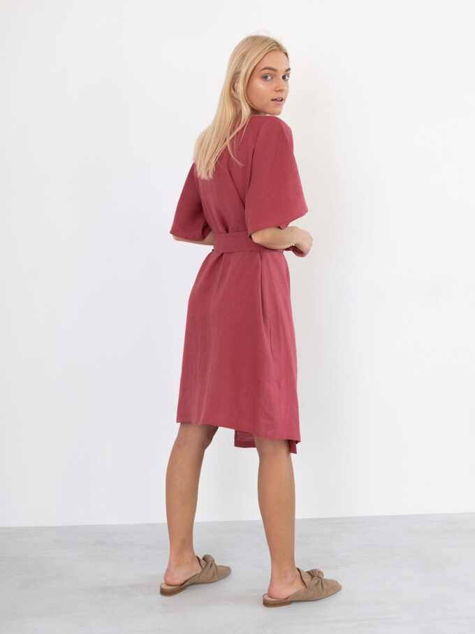 Image 1 of MARY Linen Wrap Dress in Raspberry from Love and Confuse