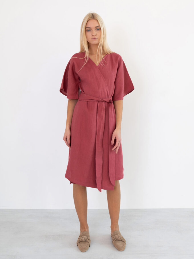 Image 2 of MARY Linen Wrap Dress in Raspberry from Love and Confuse