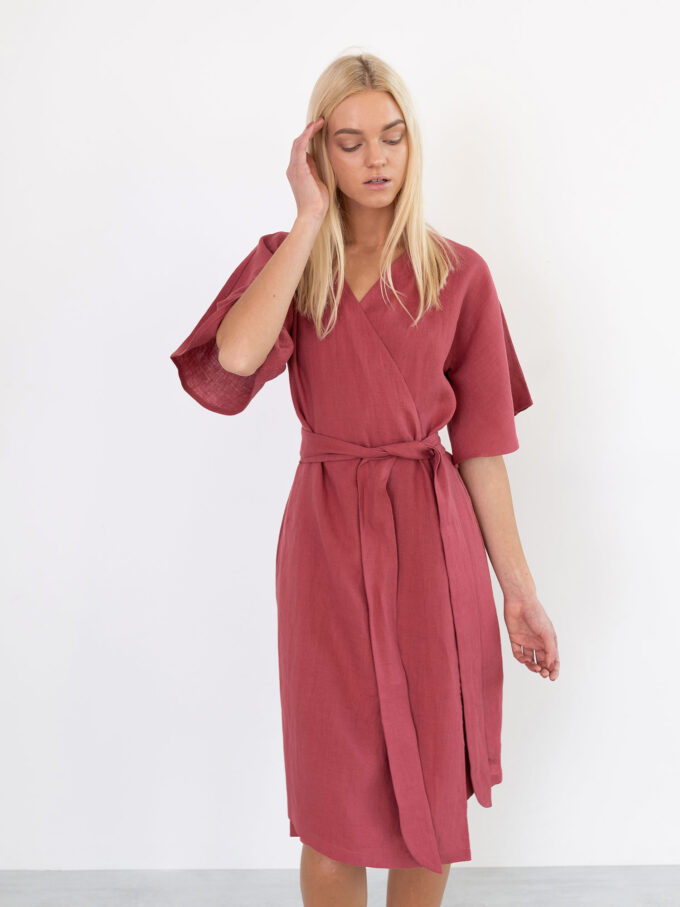 Image 3 of MARY Linen Wrap Dress in Raspberry from Love and Confuse
