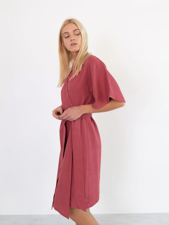 Image 4 of MARY Linen Wrap Dress in Raspberry from Love and Confuse