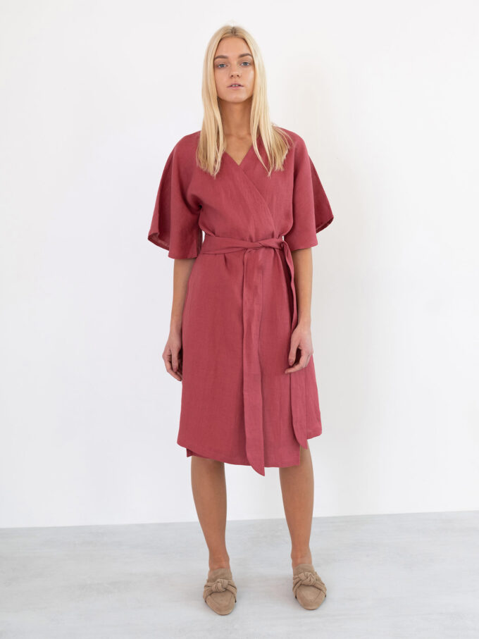 Image 5 of MARY Linen Wrap Dress in Raspberry from Love and Confuse
