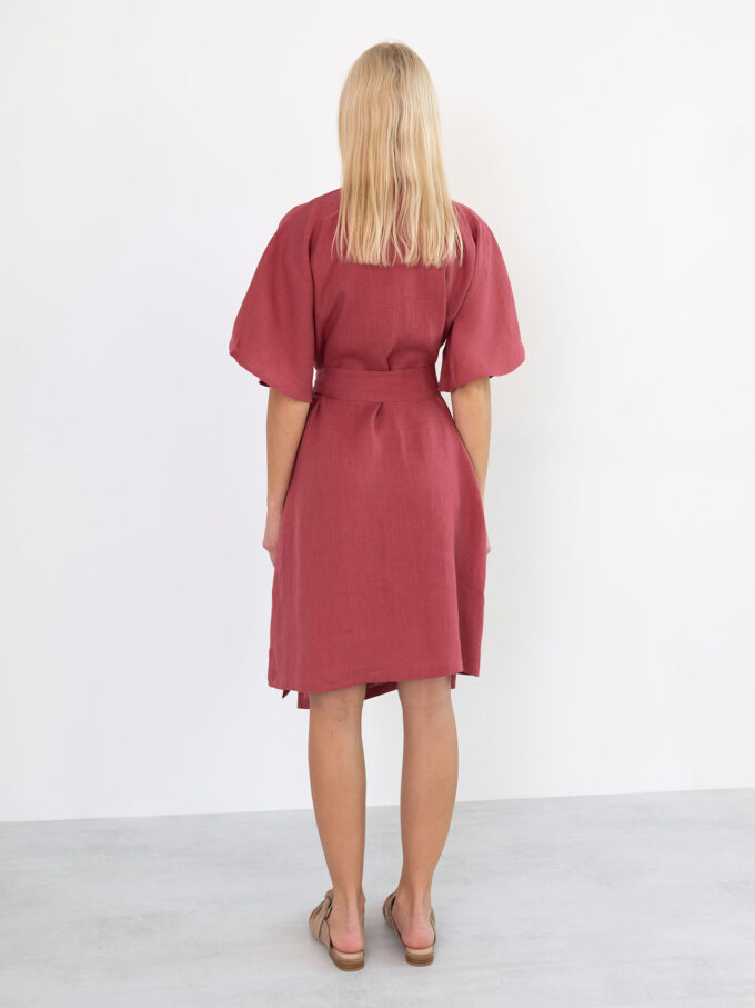 Image 6 of MARY Linen Wrap Dress in Raspberry from Love and Confuse