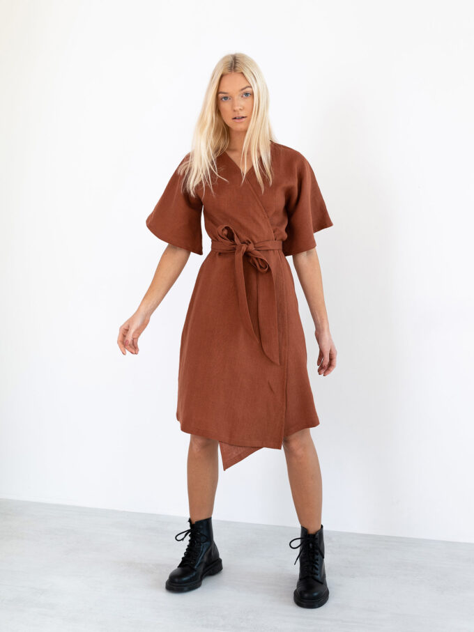 Image 1 of MARY Linen Wrap Dress in Rust from Love and Confuse