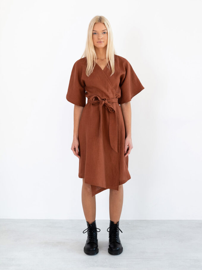 Image 2 of MARY Linen Wrap Dress in Rust from Love and Confuse