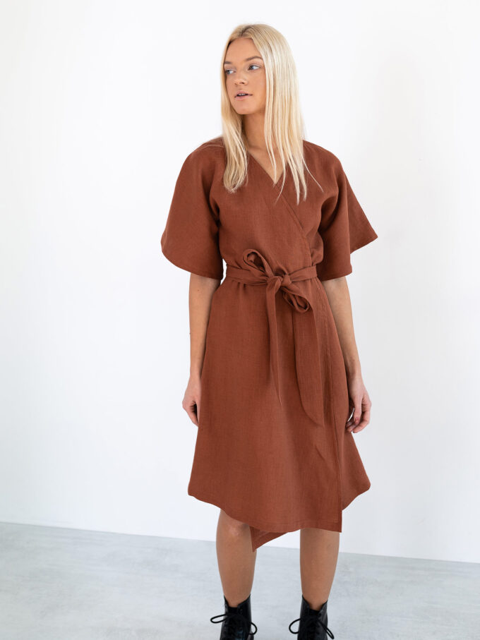 Image 3 of MARY Linen Wrap Dress in Rust from Love and Confuse