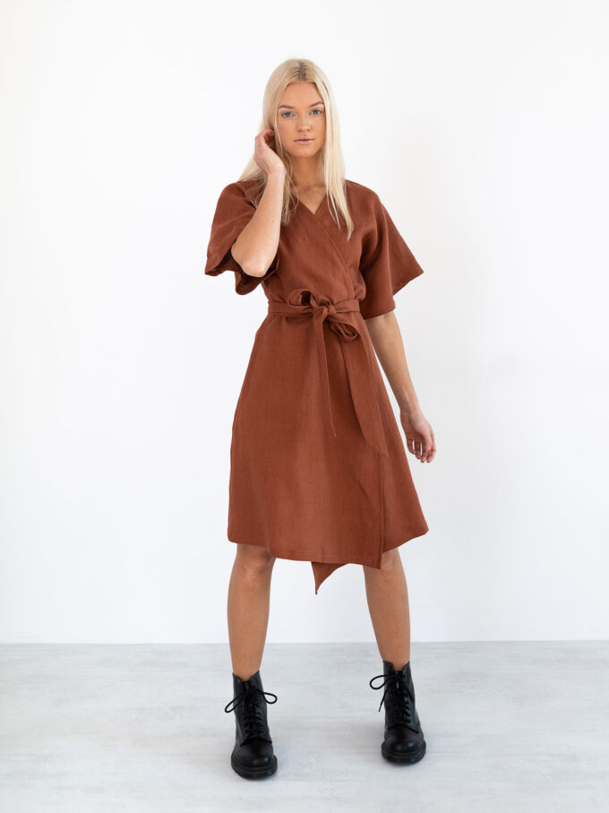 Image 4 of MARY Linen Wrap Dress in Rust from Love and Confuse