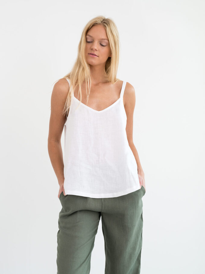 Image 1 of MILLIE Linen Cami Top in White from Love and Confuse