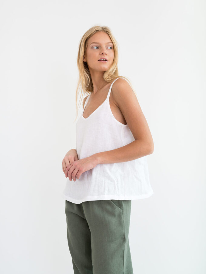 Image 3 of MILLIE Linen Cami Top in White from Love and Confuse