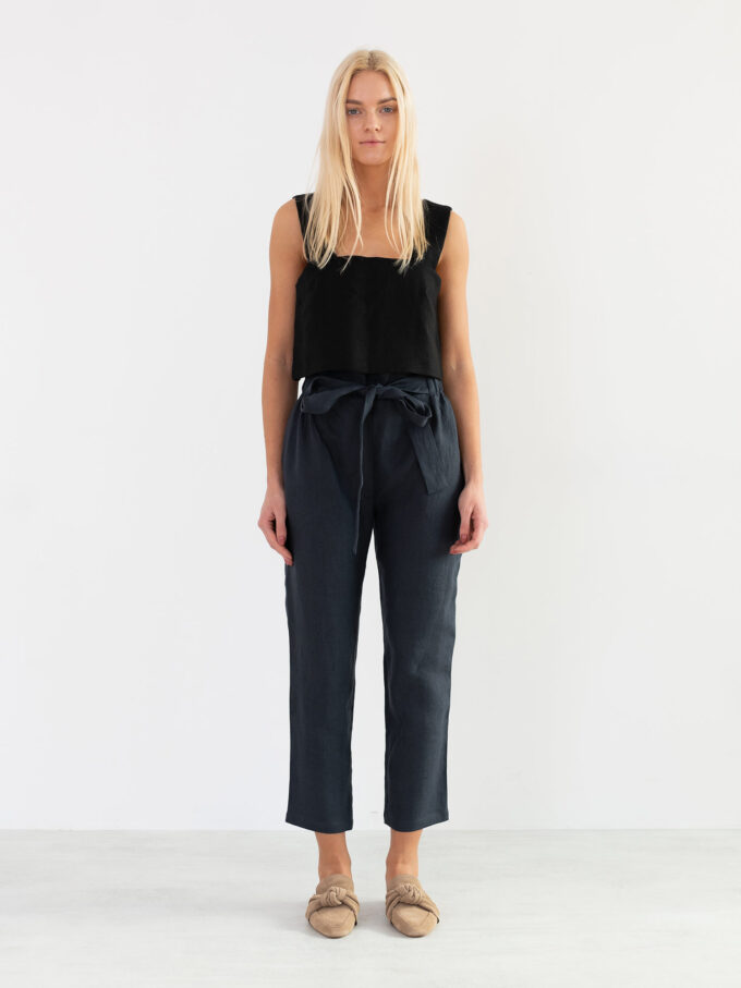 Image 2 of NOAH High Waisted Linen Pants in Dark Grey from Love and Confuse