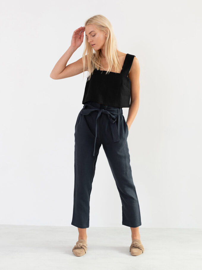 Image 3 of NOAH High Waisted Linen Pants in Dark Grey from Love and Confuse