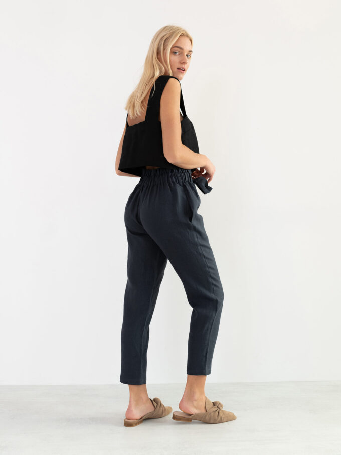 Image 4 of NOAH High Waisted Linen Pants in Dark Grey from Love and Confuse