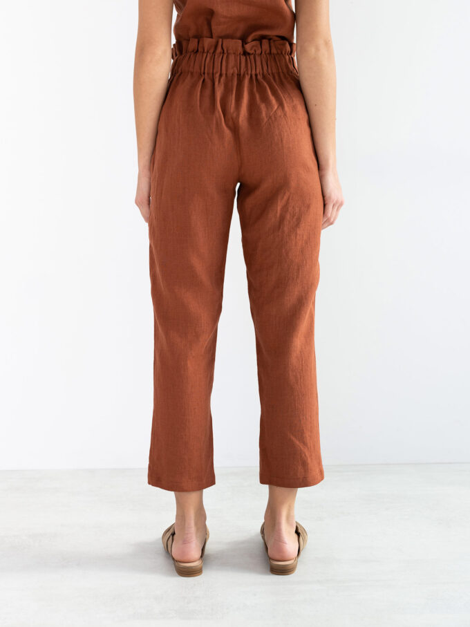 Image 6 of NOAH High Waisted Linen Pants in Rust from Love and Confuse