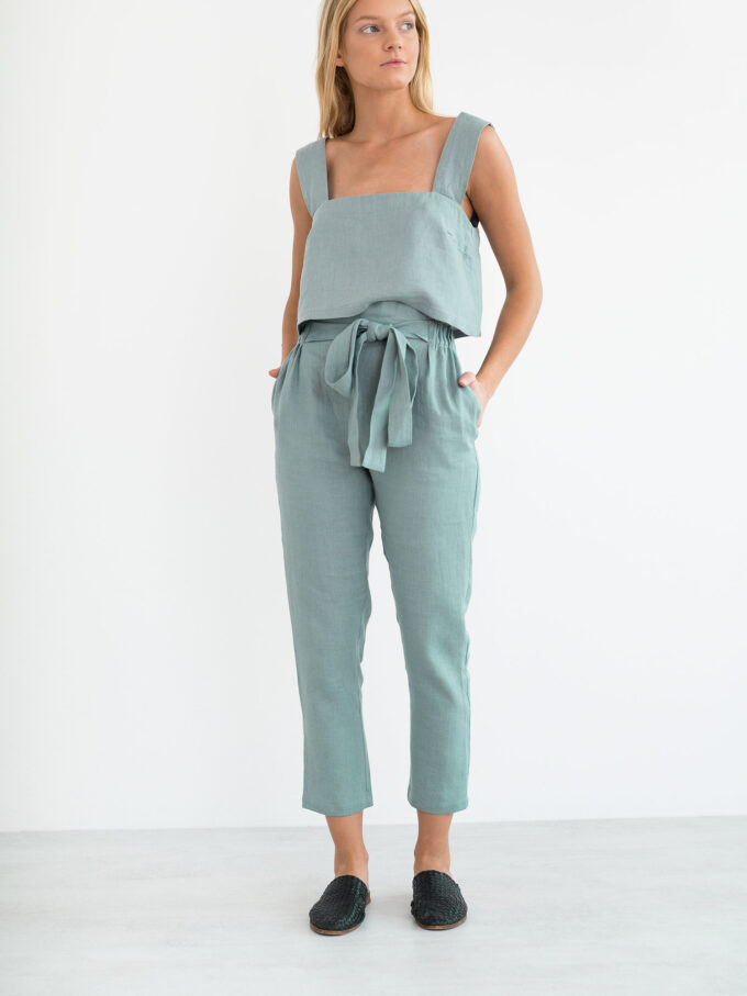 Image 2 of NOAH Paper Bag Linen Pants in Dark Turquoise from Love and Confuse