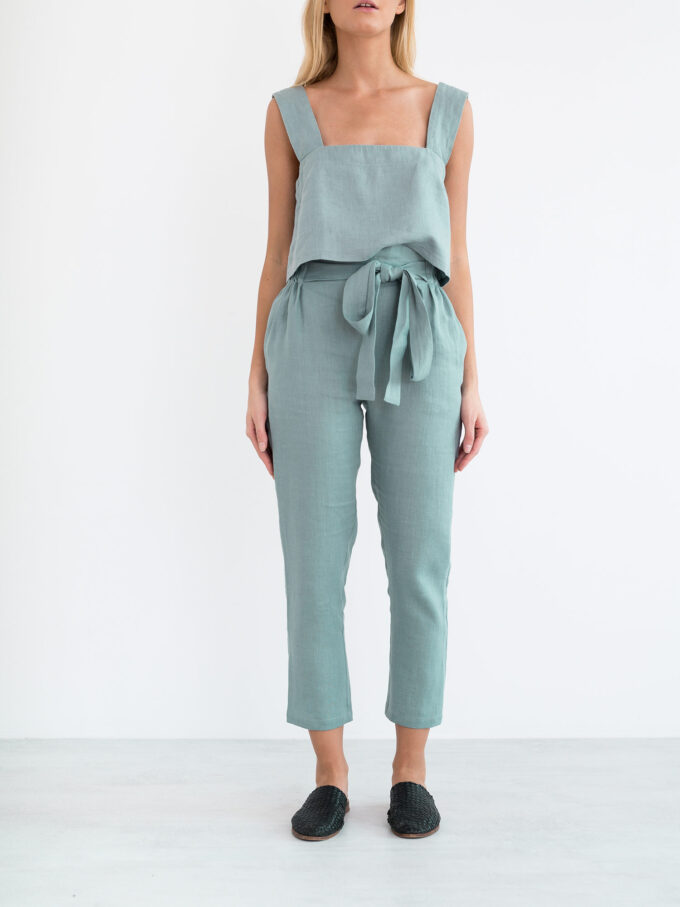 Image 4 of NOAH Paper Bag Linen Pants in Dark Turquoise from Love and Confuse