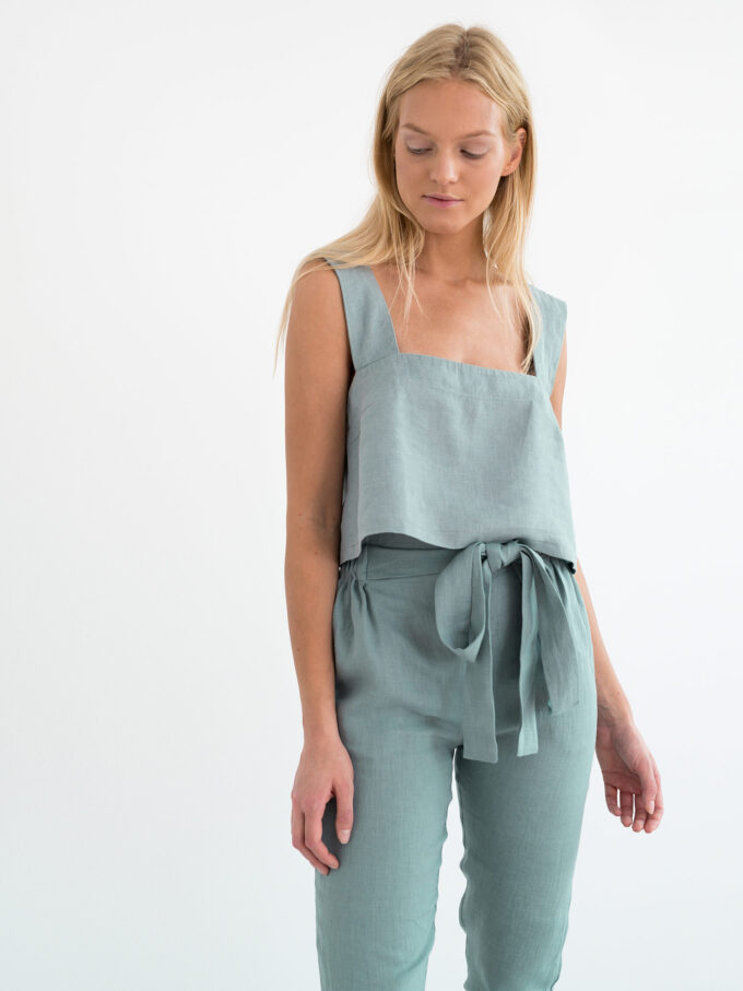 Image 5 of NOAH Paper Bag Linen Pants in Dark Turquoise from Love and Confuse