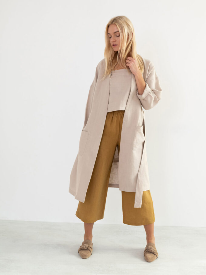 Image 1 of NORA Linen Coat in Beige from Love and Confuse
