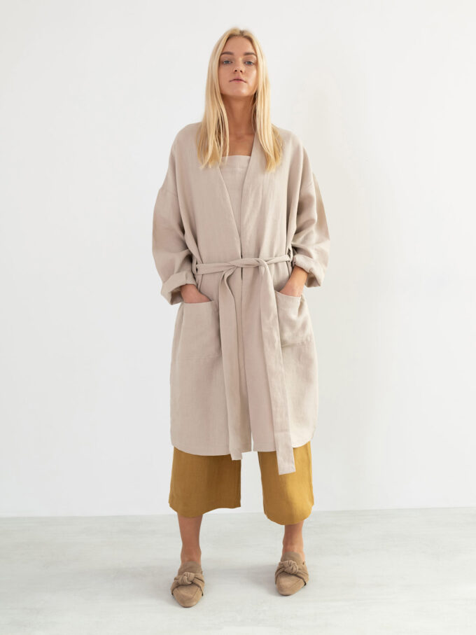 Image 3 of NORA Linen Coat in Beige from Love and Confuse