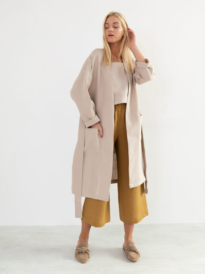 Image 4 of NORA Linen Coat in Beige from Love and Confuse
