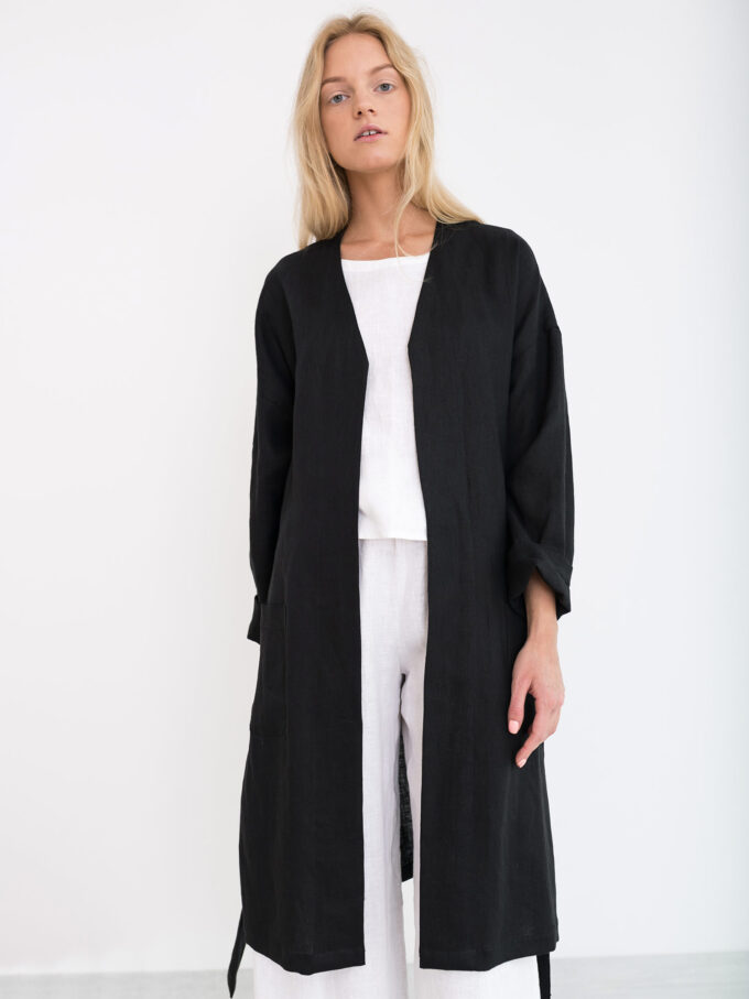 Image 1 of NORA Linen Coat in Black from Love and Confuse