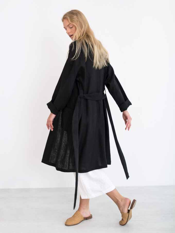 Image 2 of NORA Linen Coat in Black from Love and Confuse