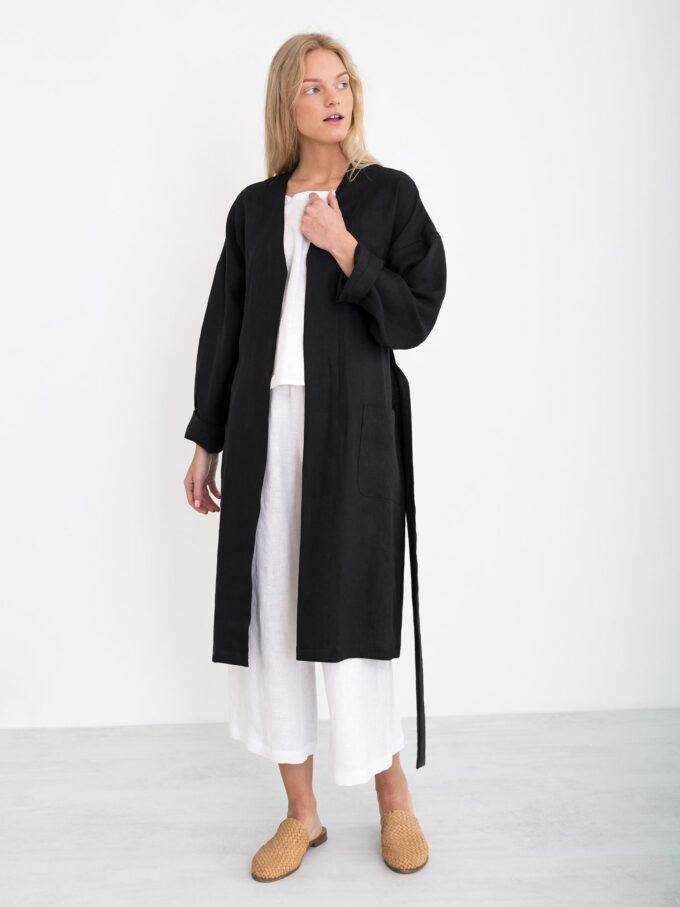 Image 3 of NORA Linen Coat in Black from Love and Confuse