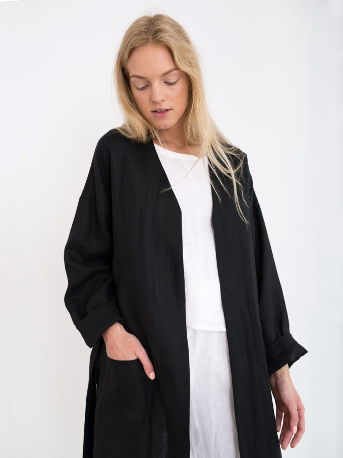 Image 4 of NORA Linen Coat in Black from Love and Confuse