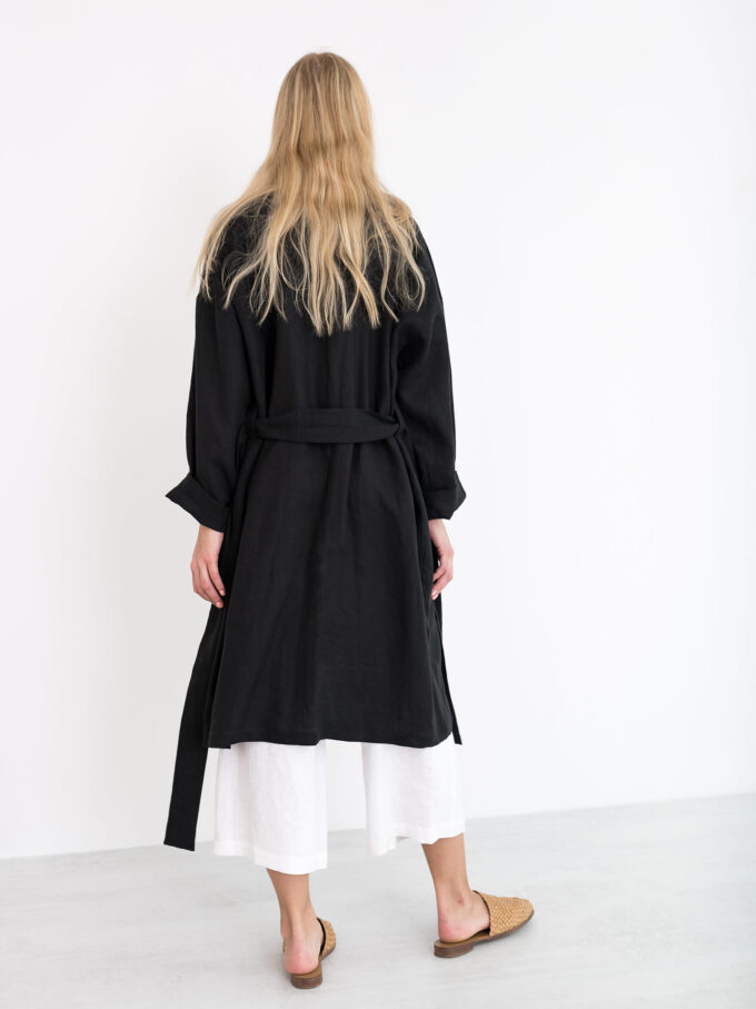 Image 5 of NORA Linen Coat in Black from Love and Confuse