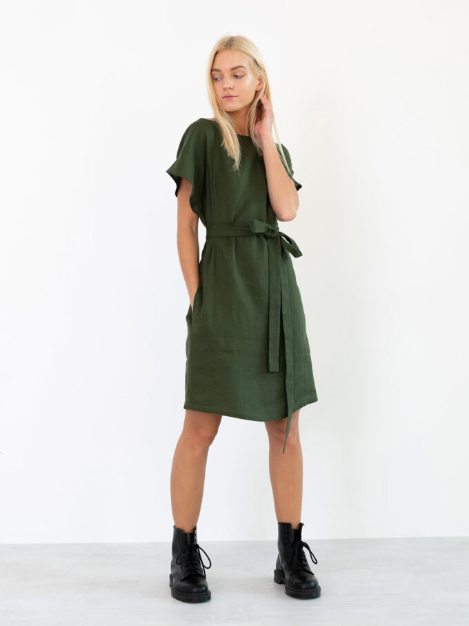 Image 1 of PENELOPE Linen Dress in Forest Green from Love and Confuse