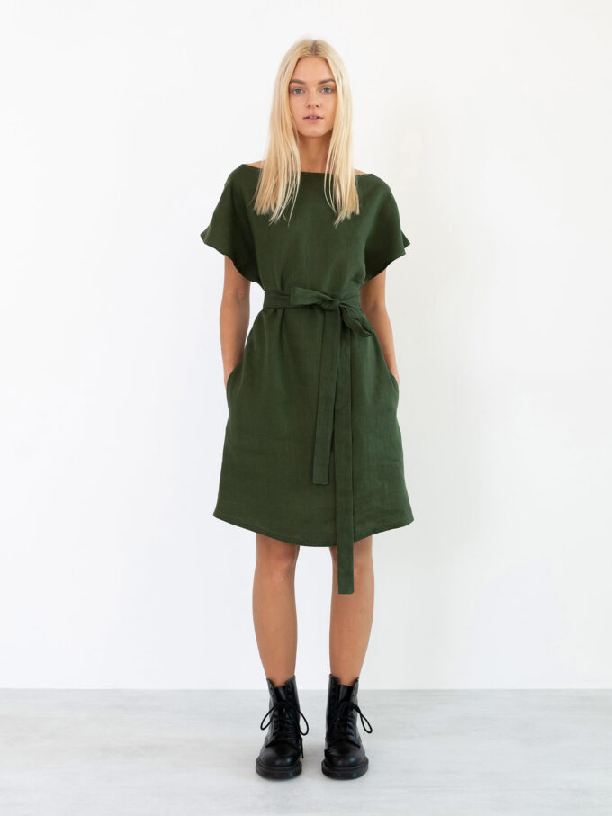 Image 2 of PENELOPE Linen Dress in Forest Green from Love and Confuse
