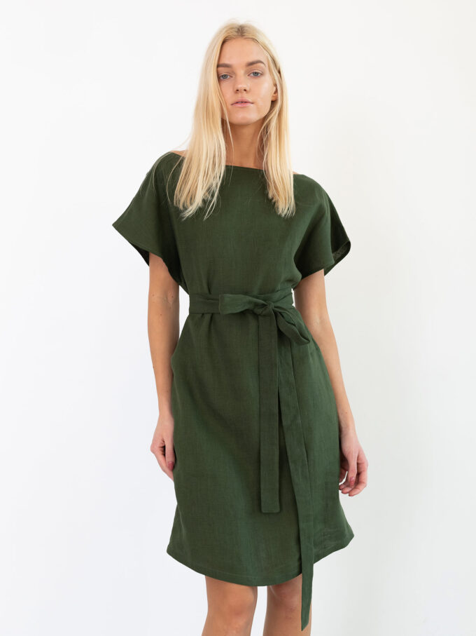 Image 3 of PENELOPE Linen Dress in Forest Green from Love and Confuse
