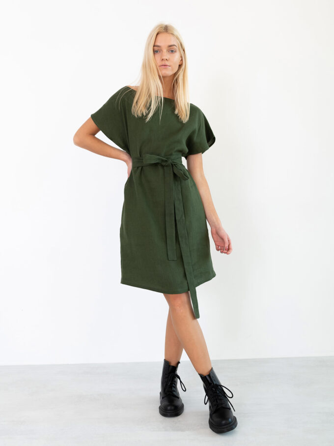 Image 4 of PENELOPE Linen Dress in Forest Green from Love and Confuse