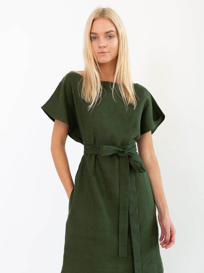 Image 5 of PENELOPE Linen Dress in Forest Green from Love and Confuse