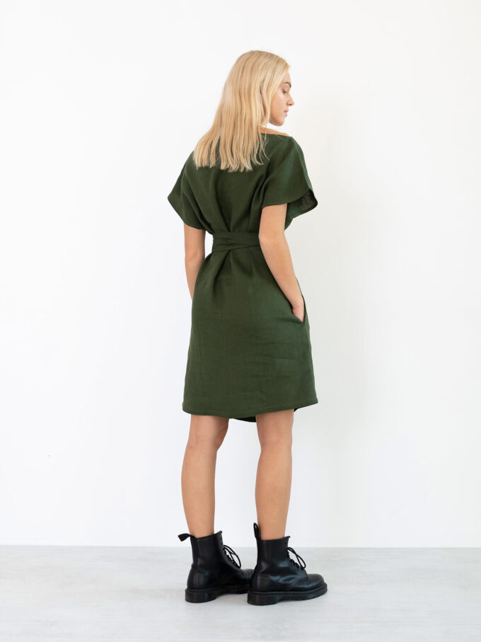 Image 6 of PENELOPE Linen Dress in Forest Green from Love and Confuse
