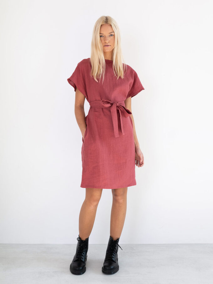 Image 1 of PENELOPE Linen Dress in Raspberry from Love and Confuse