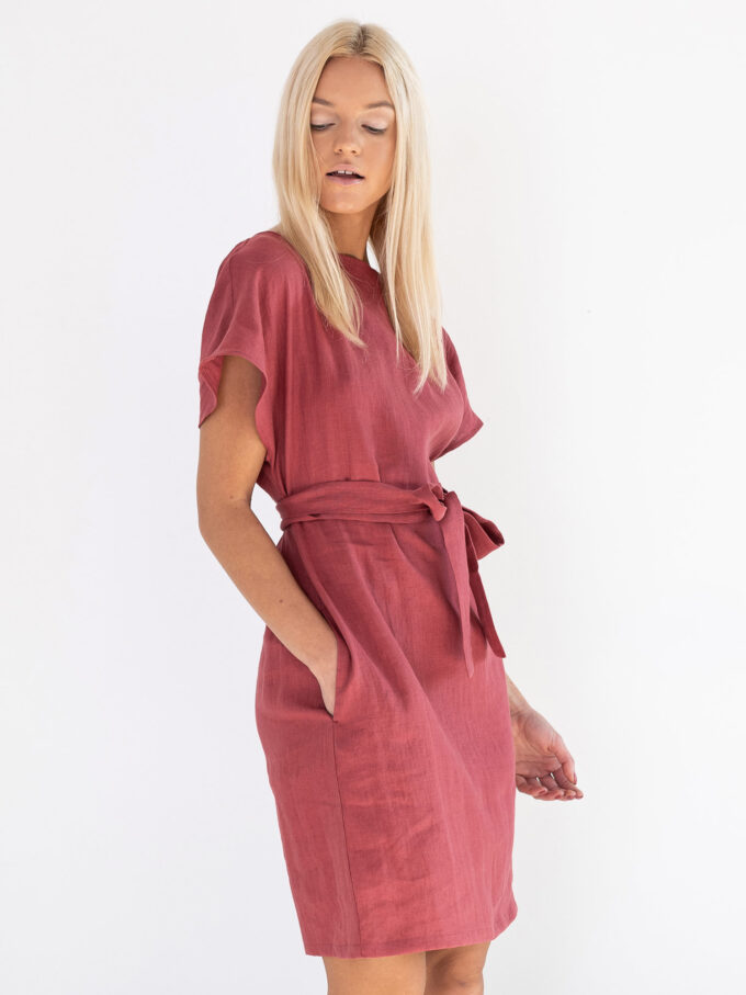 Image 2 of PENELOPE Linen Dress in Raspberry from Love and Confuse
