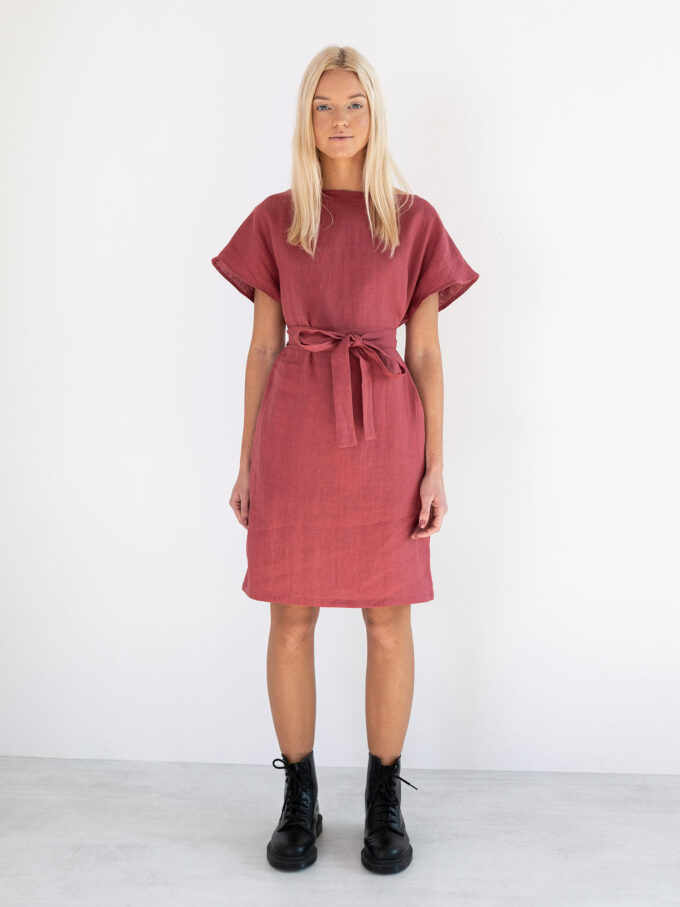Image 3 of PENELOPE Linen Dress in Raspberry from Love and Confuse