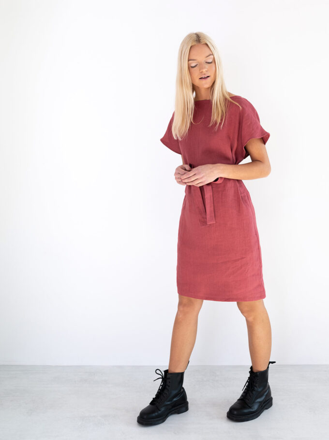 Image 4 of PENELOPE Linen Dress in Raspberry from Love and Confuse