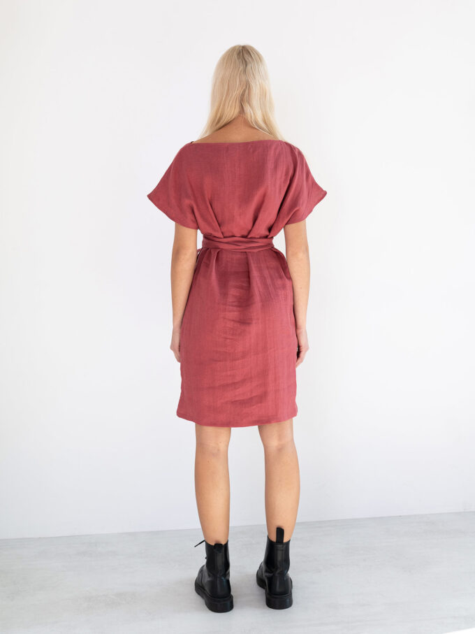 Image 5 of PENELOPE Linen Dress in Raspberry from Love and Confuse