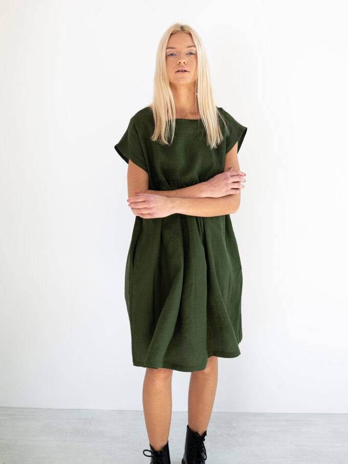 Image 1 of POPPY Linen Dress in Forest Green from Love and Confuse