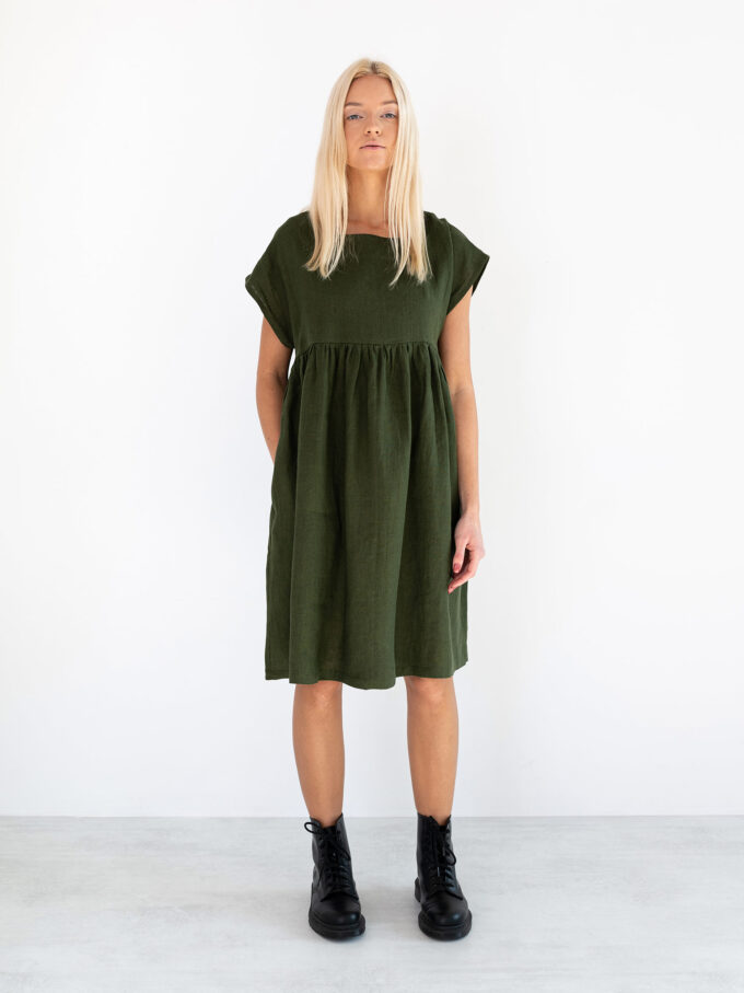 Image 2 of POPPY Linen Dress in Forest Green from Love and Confuse