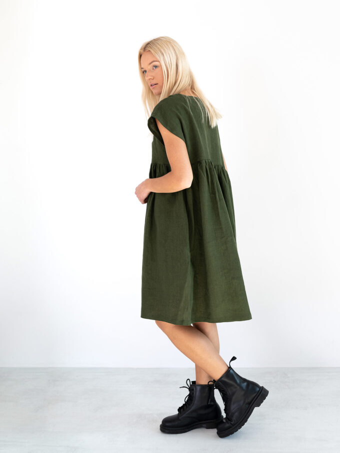 Image 3 of POPPY Linen Dress in Forest Green from Love and Confuse