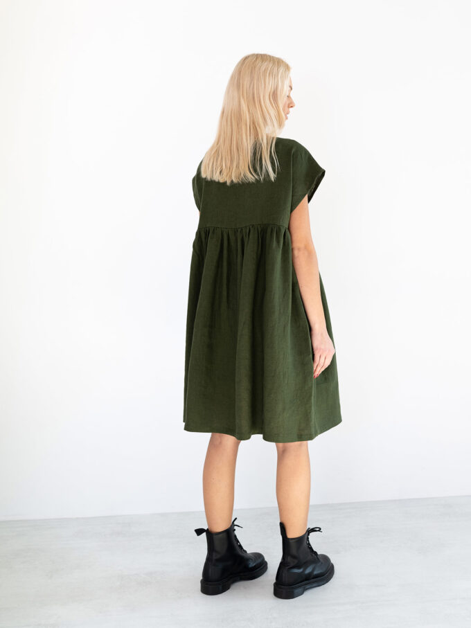 Image 4 of POPPY Linen Dress in Forest Green from Love and Confuse
