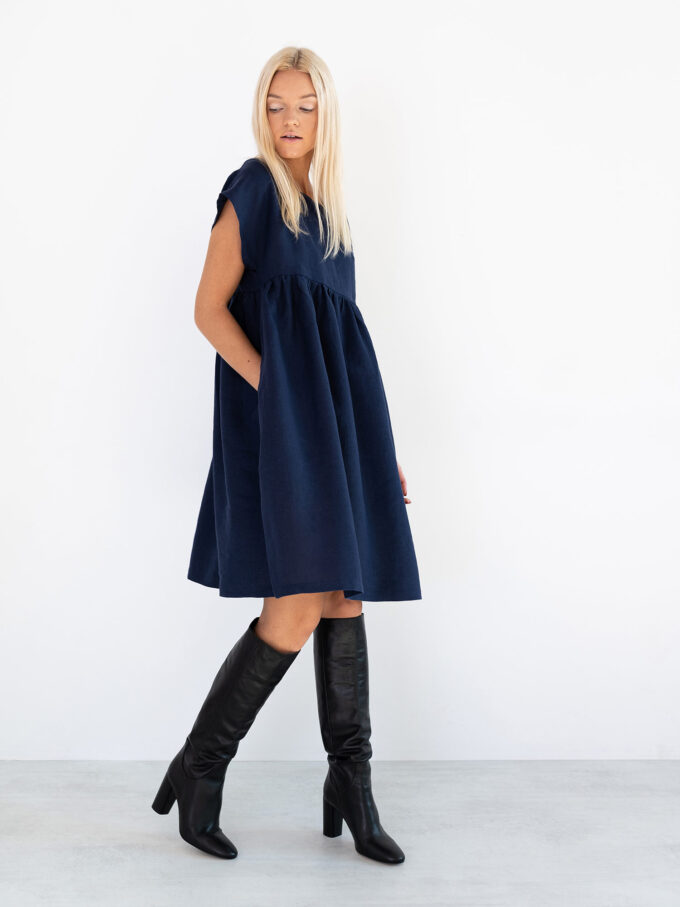 Image 1 of POPPY Linen Dress in Navy Blue from Love and Confuse