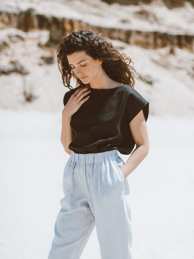Image 3 of RAVEN High Waisted Linen Pants in Cloudy Grey from Love and Confuse