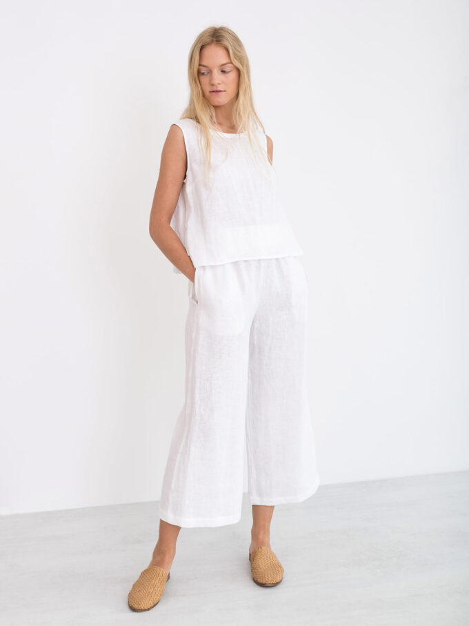 Image 1 of RILEY Wide Leg Linen Pants in White from Love and Confuse